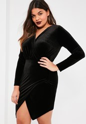 Missguided Plus Size Exclusive Black Velvet Wrap Dress