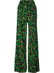 Versace 'Camoupard' Palazzo Trousers Green