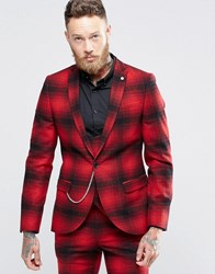 Noose And Monkey Skinny Suit Jacket In Ombre Check With Chain Red