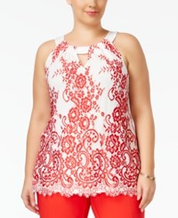 Inc International Concepts Plus Size Lace Keyhole Halter Top Only At Macy's Real Red Print
