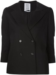 Rosie Assoulin Cape Detail Double Breasted Jacket Black