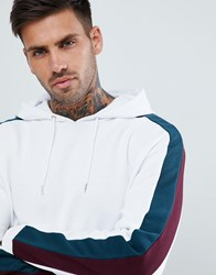 Asos Design Hoodie With Side Stripes White