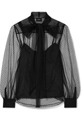 Marc Jacobs Pussy Bow Swiss Dot Tulle Blouse Black