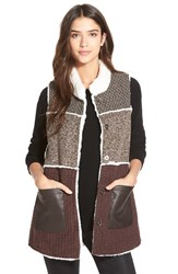 Women's Dena Mixed Media Colorblock Vest Brown