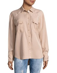 Free People Button Front Metallic Accented Top Natural