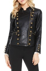 Vince Camuto Women's Faux Leather Military Jacket Rich Black
