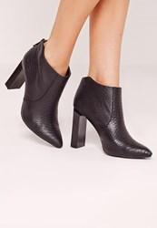 Missguided Squared Heel Croc Ankle Boot Black Black