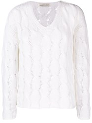 Lamberto Losani Cable Knit Sweater White