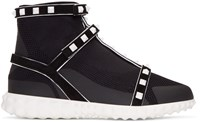 Valentino Black Garavani Studded Knit Sock High Top Sneakers