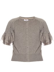 Muveil Elephant Ruffle Sleeve Cardigan Light Grey