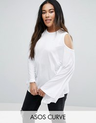Asos Curve Top With Cold Shoulder And Kimono Sleeve White