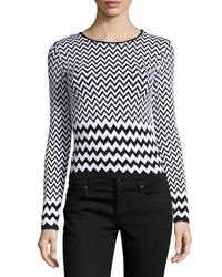 Romeo And Juliet Couture Chevron Knit Top Black White