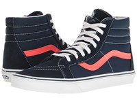 Vans Sk8 Hi Reissue Neon Leather Dress Blues Neon Red Skate Shoes Navy