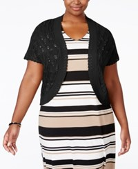 Ny Collection Plus Size Open Front Pointelle Shrug Black