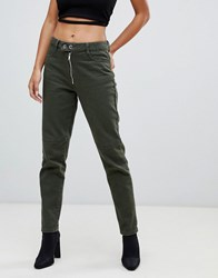 Missguided Riot High Rise Mom Jean In Khaki Green
