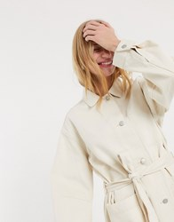 Weekday Clay Worker Jacket In Ecru Cream