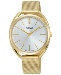 Pulsar Women's Easy Style Gold Tone Stainless Steel Mesh Bracelet Watch 34Mm Pg2038
