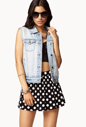 Forever 21 Distressed Denim Vest Light Denim