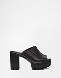 Glamorous Black Cleated Sole Heeled Mule Sandals