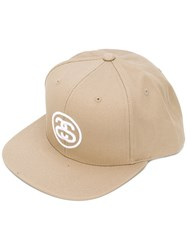 Stussy Logo Embroidery Cap Men Cotton One Size Nude Neutrals