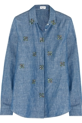 Sonia Rykiel Embellished Cotton And Linen Blend Chambray Shirt