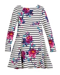 Joules Erin Striped And Floral Long Sleeve Dress Multi
