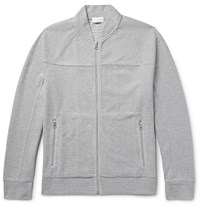 Club Monaco Cotton Blend Pique Zip Up Sweatshirt Gray