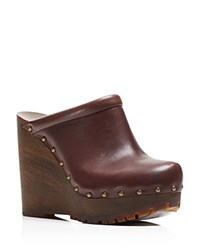 See By Chloe Clive Studded Platform Wedge Clogs Brown