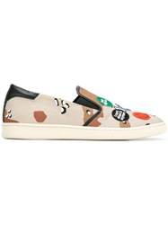 Palm Angels Camouflage Slip On Sneakers Beige