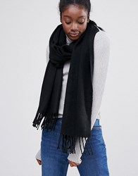 Monki Fringe Detail Scarf Black