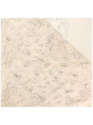 Uma Wang Floral Print Scarf Nude And Neutrals