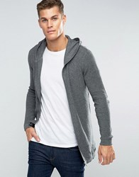 Esprit Ribbed Draped Hooded Cardigan Grey