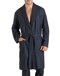 Hanro Jules Striped Long Robe Blue