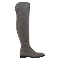 Mint Velvet Hannah Flat Knee High Boots Grey Nubuck