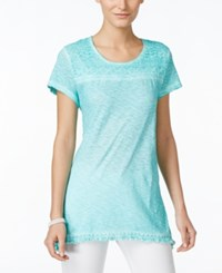 Styleandco. Style And Co. Crochet Trim Top Only At Macy's Pacific Aqua