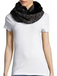Collection 18 Faux Fur Trimmed Knit Infinity Scarf Black