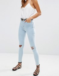 Asos Ridley High Waist Skinny Jeans In Petra Blue With Ripped Knees Tribeca