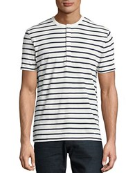 French Connection Jean Striped Cotton Tee Milk Marine