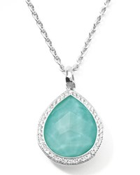 Stella Teardrop Pendant Necklace In Turquoise Doublet With Diamonds Ippolita Silver