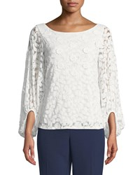 Laundry By Shelli Segal Lace 3D Long Sleeve Blouse White