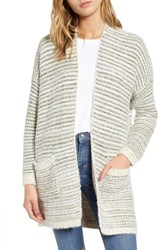 Dreamers By Debut Texture Stitch Cardigan Ivory Stripe