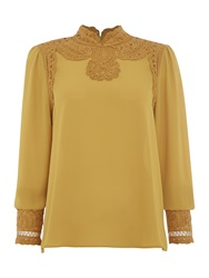 Biba Battenburg Lace Edwardian Blouse Mustard