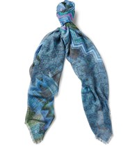 Missoni Printed Modal And Linen Blend Scarf Turquoise