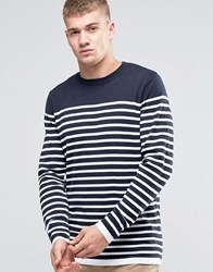 Jack And Jones Bretton Stripe Knitted Crew Navy