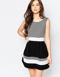 Wal G Skater Dress With Striped Top Blackand Wh