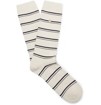Folk Striped Stretch Cotton Blend Socks Ecru
