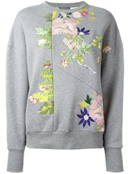 Alexander Mcqueen Floral Sweater Women Cotton 42 Grey
