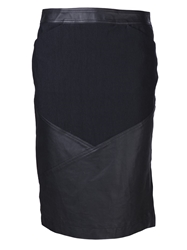 Issey Miyake Leather Panel Skirt Black