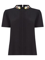 Oasis Embroidered Collar Top Black