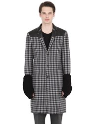Var City Wool Jacquard Coat With Knit Sleeves